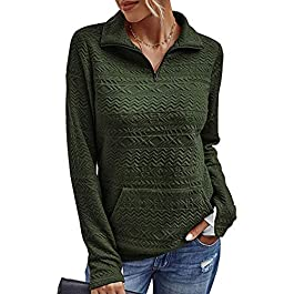 MAYFASEY Women's Fashion Quilted Pattern Long Sleeve 1/4 Zipper Lightweight Plain Casual Ladies Sweatshirts Pullovers…