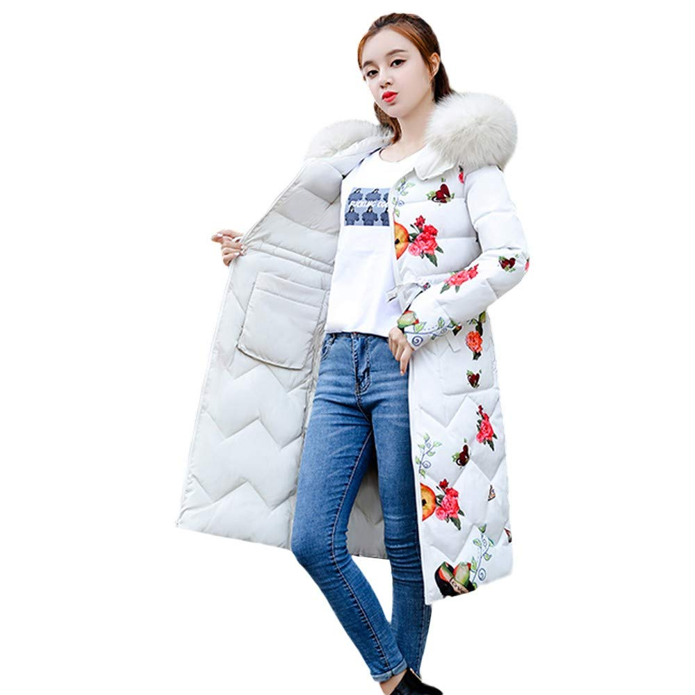 White Realdo Womens Double Side Coat, Winter Faux Fur Hoodie Down Long Puffer Parka