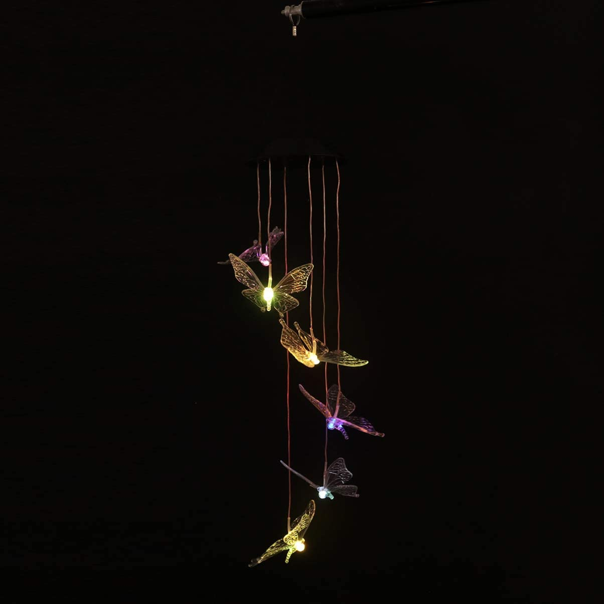 Butterfly Yardwe Solar Butterfly Wind Chimes LED Light Color Changing Mobiles Hanging Sensor for Home Outdoor Hanging Decoration