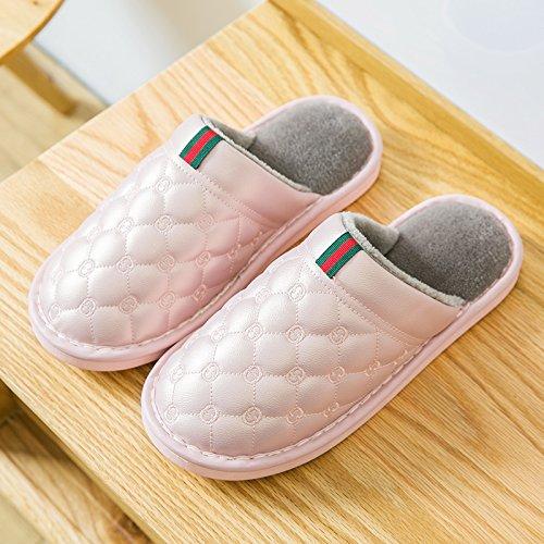 Y-Hui zapatillas de algodón impermeable femenina interior de invierno Home Furnishing pareja Pu patinaje zapatillas grueso al final de otoño invierno Pink