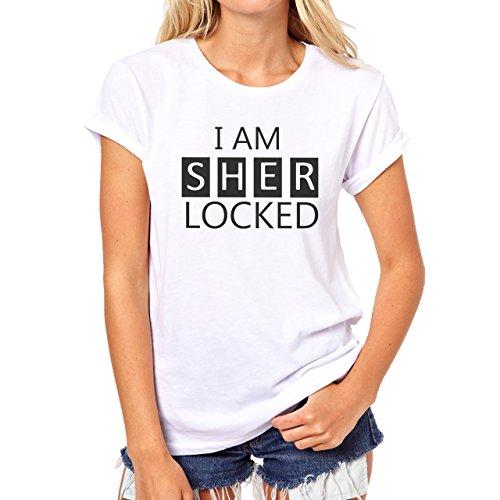 Mujer Logo Am Camiseta Sherlocked Blanca I tvaOqwZ