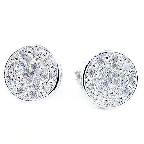 8mm Wide Diamond Stud Earrings 1/6cttww Screw Back Sterling Silver (I/j Color 0.2cttw)
