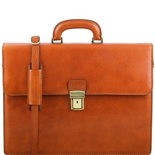Tuscany Leather - PARMA - Aktentasche aus Leder 2 Fächer Dunkelbraun - TL141350/5 Honig o1Mcxz0