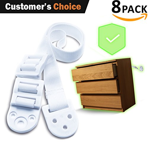 Furniture Anchors Straps Baby Proofing – Tv Anti tip Strap Kit – 8 Pack – Keep Children Safe From Falling – Attach Furniture to Wall – For Dressers, Fridges, Shelves, Tv Stands - ShiChi