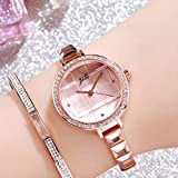 MeterMall Gifts for Girls,Women Waterproof Bracelet Watch with Checked Bling Starry Dial for Students Office Rose gold…