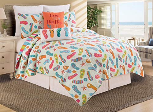 C&F Home Flip Flop Life Beach Full/Queen Reversible Cotton Quilt Set Full/Queen 3 Piece Set