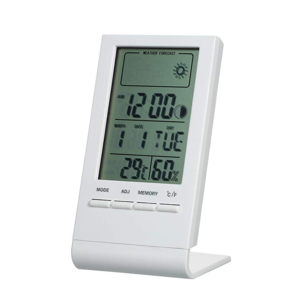 LF stores Weather Clock Mini Digital Thermometer Indoor Hygrometer Room Temperature Humidity Meter Gauge Clock Weather Forecast Clock Weather Monitoring Clocks (Color : White) by LF stores
