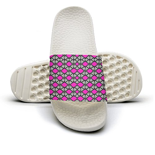 Pink Color Checkered Cool Knitting Pattern Summer Slippers For Men