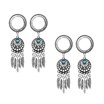 MagiDeal 2 Pairs Tribe Dreamcatcher Leaf Charms Pendant Ear Plug Tunnel Screw Gauges