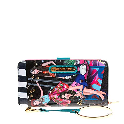 Color and Style Mini Clutch Wallet with Exclusive Print and Detachable Bracelet Wristlet and RFID Blocking (House Party)