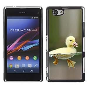 Caucho caso de Shell duro de la cubierta de accesorios de protección BY RAYDREAMMM - Sony Xperia Z1 Compact D5503 - Happy Duckling Chick