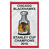 Officially Licensed NHL Chicago Blackhawks 2015 Stanley Cup Banner 3 x 5ft.