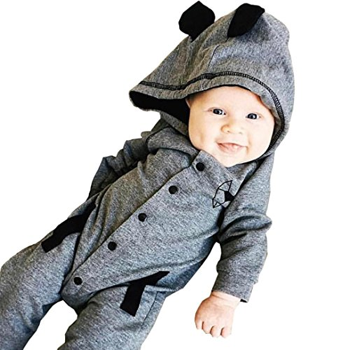 Price comparison product image Forthery Newborn Baby Girl Boy Romper Pajamas Bodysuit One-piece Outfits (0-6M / 70CM,  Gray)