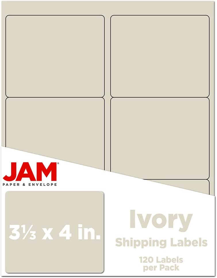 JAM PAPER Shipping Address Labels - Large - 3 1/3 x 4 - Ivory - 120/Pack : Office Products