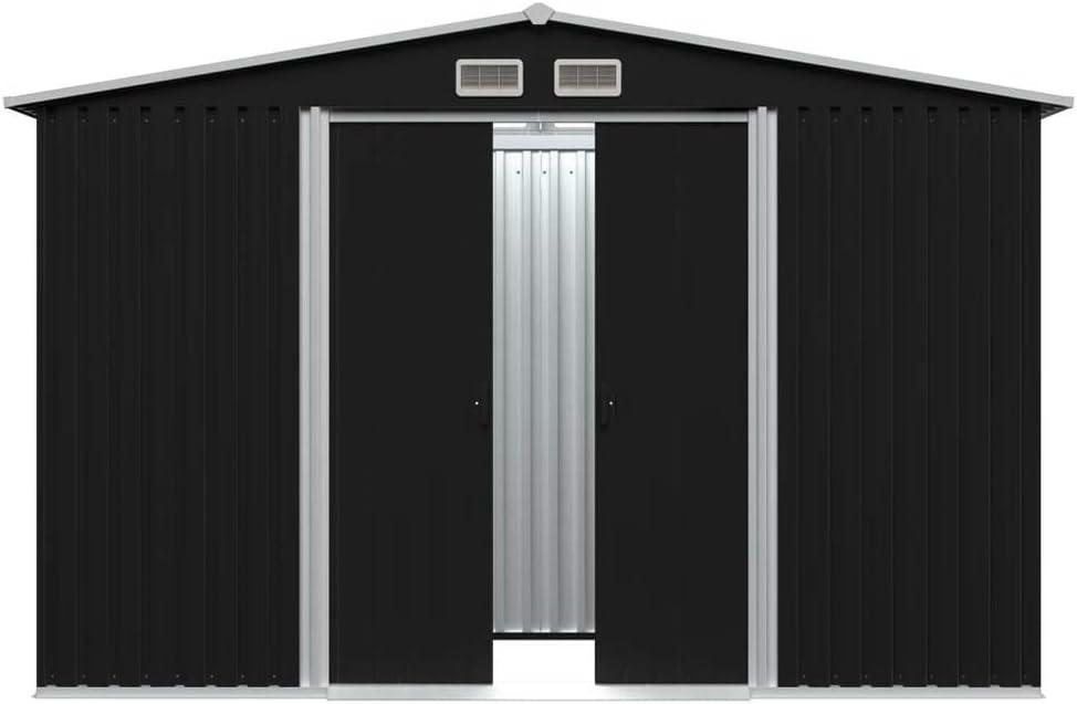 Garten Lagerschuppe Metall Gartenhaus mit Dach Ger/äteschuppen 257x205x178 cm Anthrazit Metallschuppen Mit 4 L/üftungsklappen /& Doppelschiebet/üren【DE Lager】