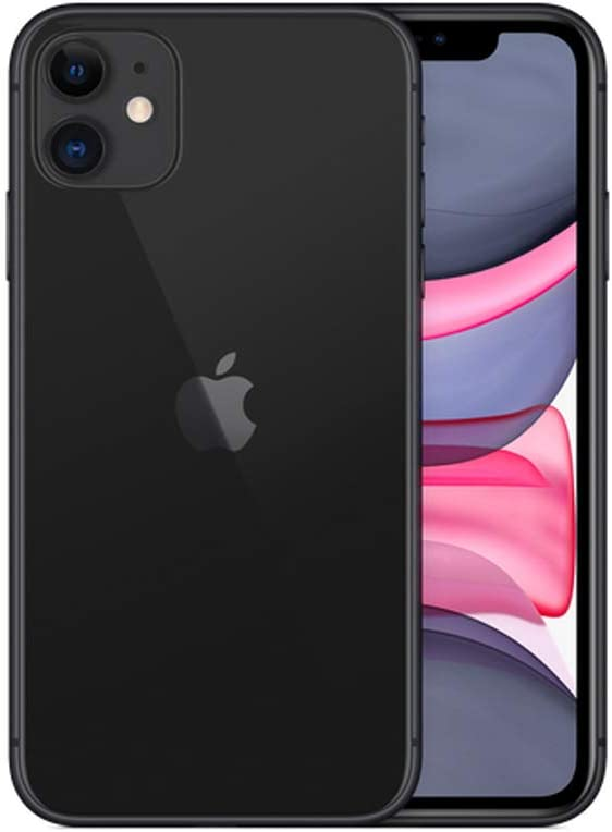 iPhone 11 - Model/A2223- Unlocked - Dual Sim - Dual Front and Rare Camera-Glass Front/Back, Aluminum Framed Features- International Version (Black, 128GB + 4GB)