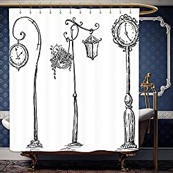 Wanranhome Custom-made shower curtain Tapestry Wall Hanging Classic Street Clocks and Lantern Architectural Urban Life Devices Luminousness DrawingBlack White For Bathroom Decoration 72 x 88 inches