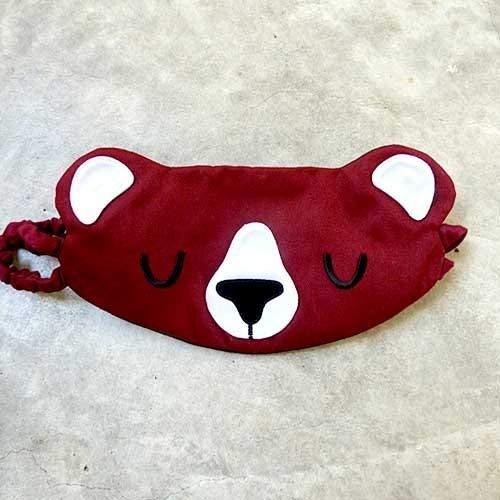 Honey Bear Padded Sleep Mask, Cute Animal Blindfold Flight Nap Eye Cover Sleeping Aid - BURGUNDY ()
