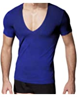 Tootlessly Mens Deep-V Neck Cotton Solid Jogger Comfort Tee Shirts Tops