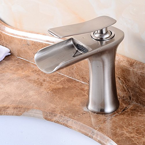 Senlesen Waterfall Spout Single Handle Bathroom Sink Faucet Basin Mixer Tap Brushed Nickel