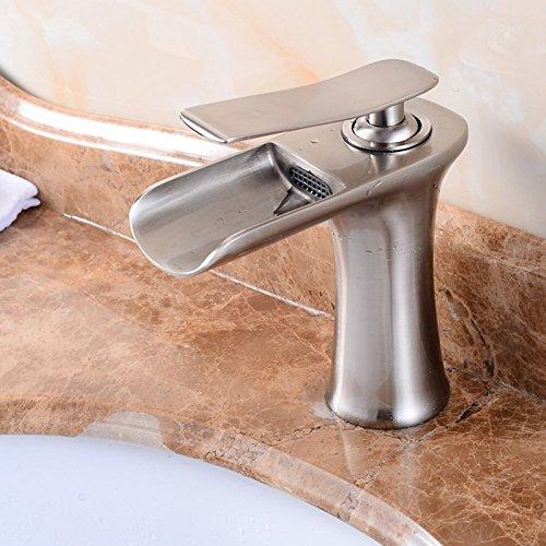 Senlesen Waterfall Spout Single Handle Bathroom Sink Faucet Basin Mixer Tap Brushed Nickel