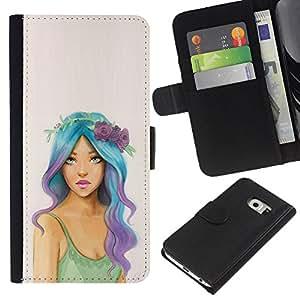 A-type (Hippie Free Girl Fashion Woman) Colorida Impresión Funda Cuero Monedero Caja Bolsa Cubierta Caja Piel Card Slots Para Samsung Galaxy S6 EDGE (NOT S6)