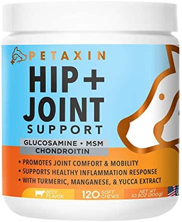 Petaxin Glucosamine for Dogs – Advanced Hip and Joint Supplement - Support for Dog Joint Pain Relief and Dog Mobility – With Chondroitin, MSM, Turmeric, & Yucca – All Ages & Sizes -120 Chews