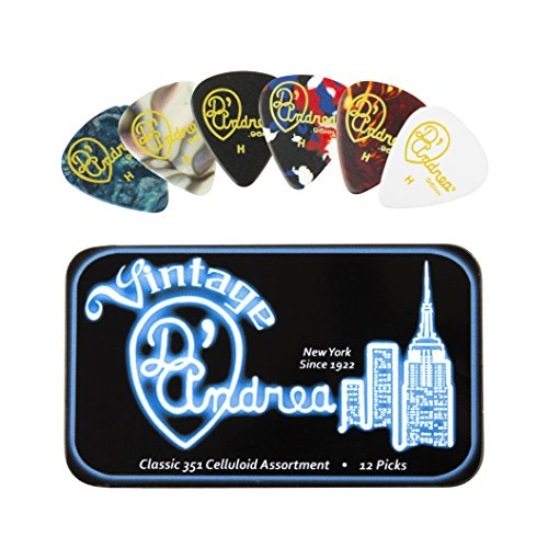 D'Andrea TNVCH Guitar Picks, 12-Piece, Collectible Tin, Vintage Assortment, Heavy