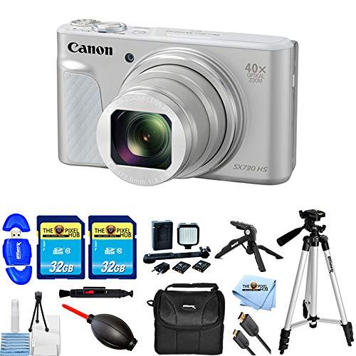 Canon PowerShot SX730 HS Digital Camera (Silver) PRO Bundle with 2X 32GB SD, LED Light Kit, Tripods, Gadget Bag + -