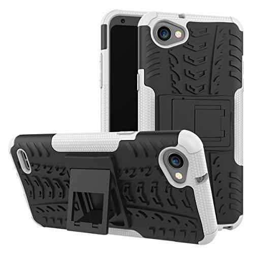 LG Q6 Funda, adorehouse Hybrid TPU y PC Bumper Back Cover [diseño 2 en 1] Anti-Gota Anti-Choques Rígido Carcasas para LG Q6 (Rosa Caliente) Blanco