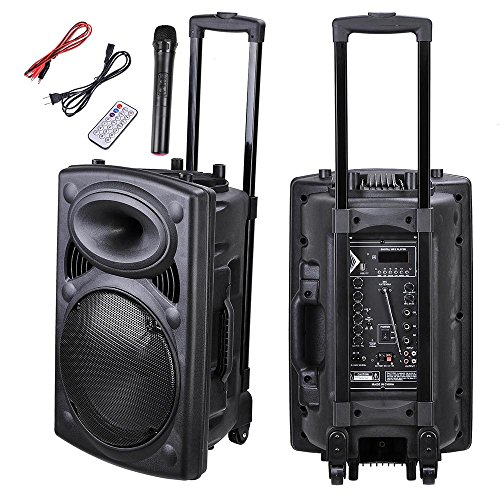 Active Wheel (AW Portable 1200W Active PA Speaker Mic Guitar AMP Bluetooth USB SD LCD FM Remote w/ Wireless Microphone)
