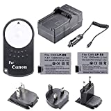 Neewer® 2* Rechargeable Replacement LP-E8 Li-ion Battery + 4 in 1 Battery Charger with US/EU/UK Plug/Car Adapter + IR Wireless RC-6 Replacement Remote Control for Canon EOS 550D 600D 650D 700D/T2i T3i T4i T5i