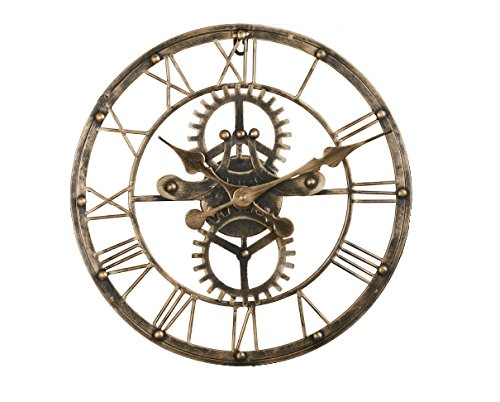 (Upuptop 16inch Handmade Vintage Industrial 3D Gear Design Wall Clock Wrought Iron Wheel Unique Shape Gold Color)