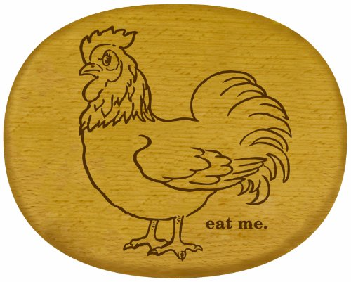 Talisman Designs Get Real Angry Animal Beechwood Cheese Board, Eat Me Rooster Design