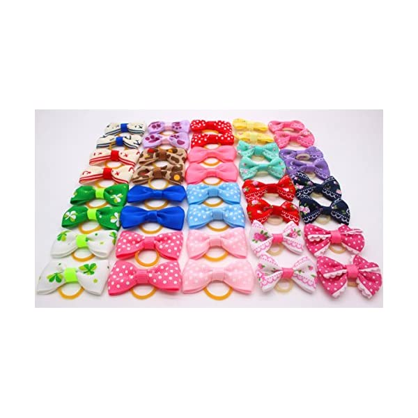YOY 40 Pcs Adorable Grosgrain Ribbon Pet Dog Hair Bows with Elastics Ties – Stretchy Rubber Bands Doggy Kitty Topknot… Click on image for further info. 3