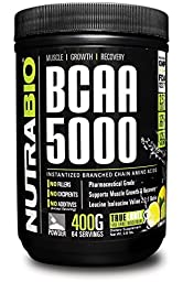 NutraBio BCAA 5000 Powder - 396 Grams - LEMON LIME - 100% Pure Branched Chain Amino Acids - HPLC Tested.