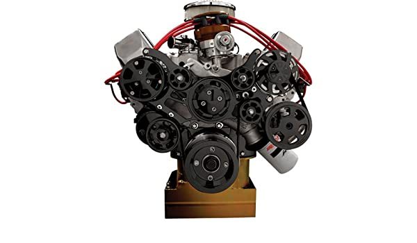 Nueva Billet Specialties negro anodizado tru-trac BBF frontal Motor Kit con bomba de agua, bomba de alternador, dirección asistida, a/c compresor, ...