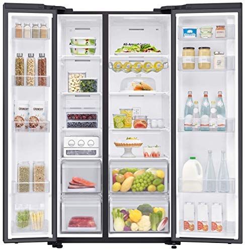 Samsung 700 L with Inverter Side-by-Side Refrigerator (RS72R50112C/TL, Black) 2021 July Frost-free side-by-side refrigerator; 700 litres Warranty: 1 year on product, 10 years on compressor Frost free refrigerator side by side: auto defrost function to prevent ice-build up