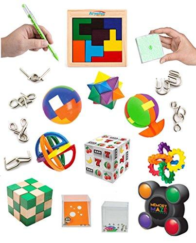 Challenge Party Bundle (Super IQ Challenge Set by Aryellys 19 pcs | Puzzles, Maze, Mind Twister, Brain Teaser Basic to Advance Levels for Adults or Kids Bundle)