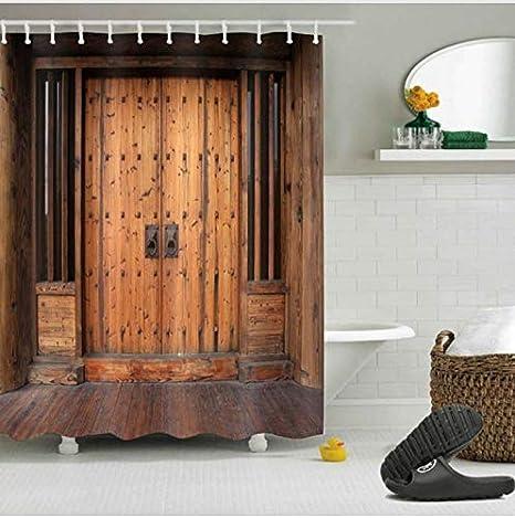 HHIAK666 Cortina De Ducha Puerta De Madera Rústica Retro Mamparas De Baño Tejido De Poliéster Impermeable para Bañera Decor180 * 180 Cm: Amazon.es: Hogar