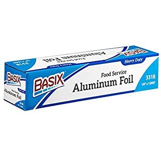 "[18"" X 1000'] Basix Heavy Duty Disposable Aluminum Silver Foil Roll, Chemical And Toxin Free, Great For Any Food, BBQ, Household Kitchen, Or Commercial Catering,"