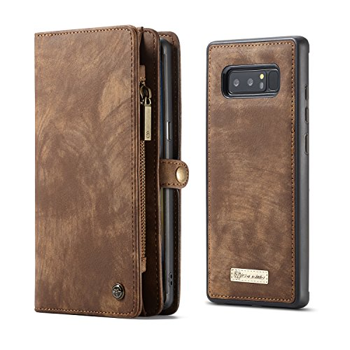 CaseMe Samsung Galaxy Note 8 Wallet Case with Detachable Slim TPU PC Case,Luxury Handmade,TRIFOLD Leather,Original Package,Coffee - Leather Case Bundle