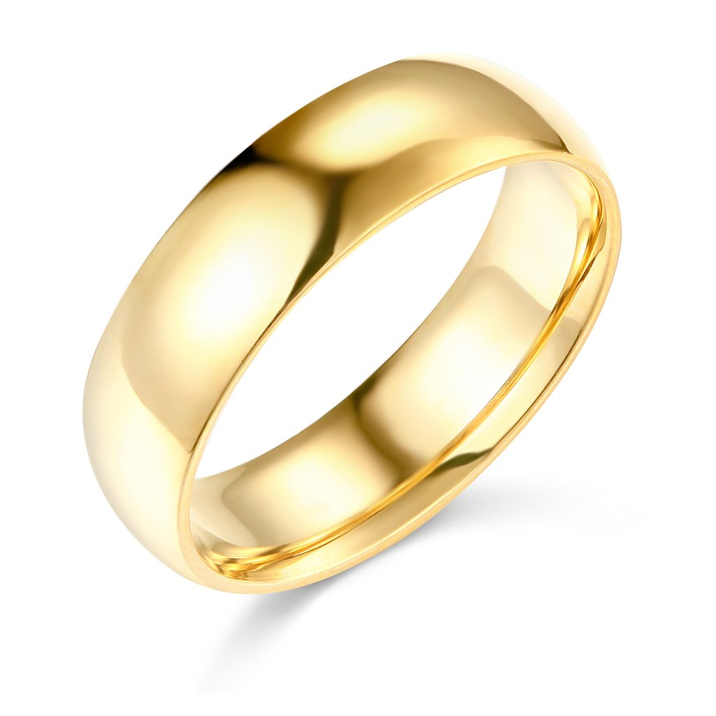 Wellingsale Mens 14k Yellow Gold Solid 6mm CLASSIC FIT Traditional Wedding Band Ring - Size 10.5