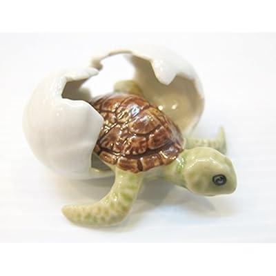 ChangThai Design Dollhouse Miniatures Ceramic Turtle in Egg FIGURINE Animals Decor: Toys & Games