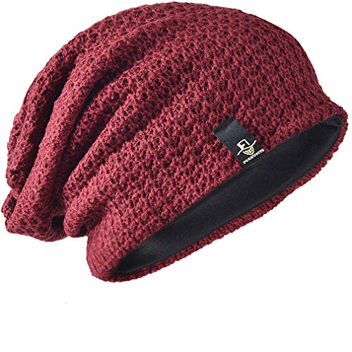 FORBUSITE Mens Slouchy Long Beanie Knit Cap for Summer Winter, Oversize, Burgundy