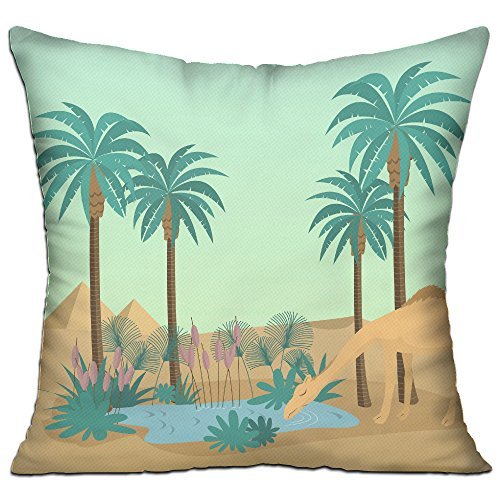 KKWODWCX Desert Oasis Home Fashion Soft Canvas Polyster Throw Pillow Bolster Cushion Cover Square 18'' Decorative Pillowcase - Oasis Accent