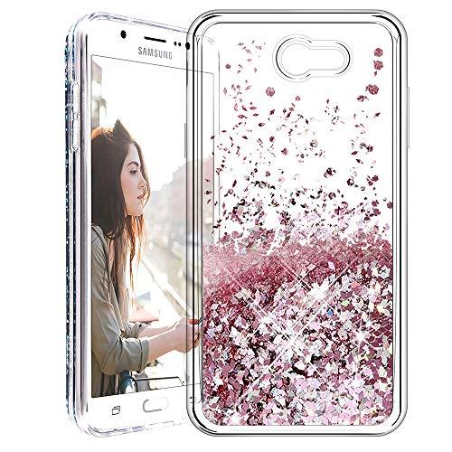 Galaxy J7 2017 Case, Caka [Liquid Series] Glitter Bling Flowing Floating Luxury Liquid Sparkle TPU Bumper Case for Samsung Galaxy J7 Sky Pro/Prime/J7 V/J7 Perx/Halo/2017(AT&T) - (Rose Gold)