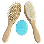 Wooden Baby Brush Set with Natural Goat Hair Bristles ~ Cradle Cap Brush ~ Best Baby Shower and Registry Gift ~ Supports Charity (Brush Set)