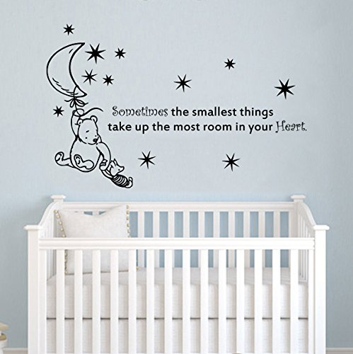 Wall Decals Quotes Winnie The Pooh Quote - Sometimes The Smallest Stars Moon - Kids Baby Childrens Room Bedroom Nursery Dorm Vinyl Sticker Wall Decor Murals DecorimDecorWallDecal