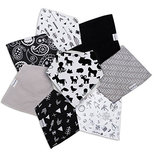 Baby Bandana Drool Bibs - 100% Natural Organic Cotton with Fleece Back - Unisex 8-Pack Gift Set with Popular Black and White Designs for Boys and Girls | by So Peep … (Black and White) Black Fleece Bibs